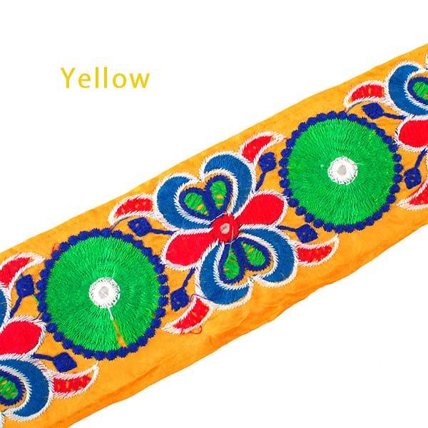 インド ミラーワークのチロリアンテープ  ハンドメイド素材 (ピンク 幅7cm/1m単位売り)【画像2】