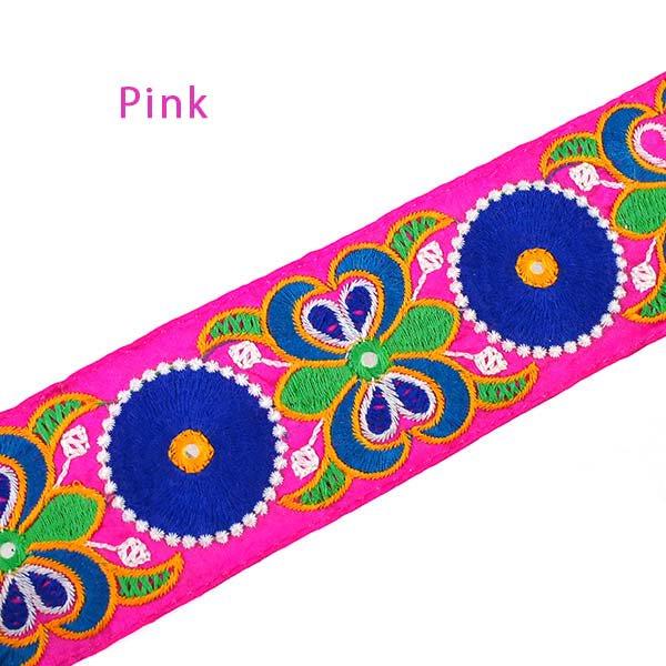 インド ミラーワークのチロリアンテープ  ハンドメイド素材 (ピンク 幅7cm/1m単位売り)【画像3】