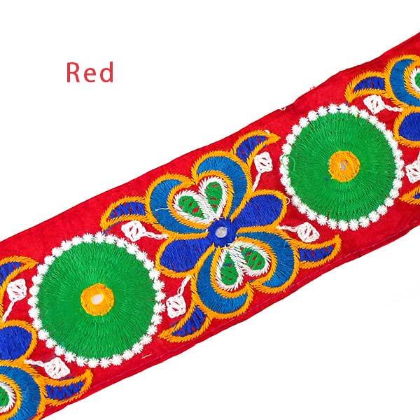 インド ミラーワークのチロリアンテープ  ハンドメイド素材 (ピンク 幅7cm/1m単位売り)【画像4】