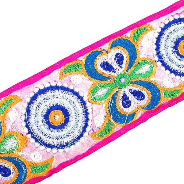 インド ミラーワークのチロリアンテープ  ハンドメイド素材 (ピンク 幅7cm/1m単位売り)【画像5】