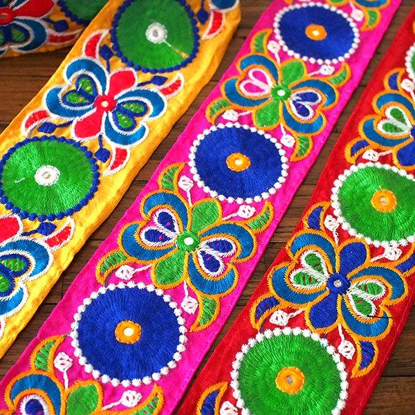 インド チロリアンテープ  ミラーワーク 刺繍 3色 (幅7cm/1m単位売り)【画像7】