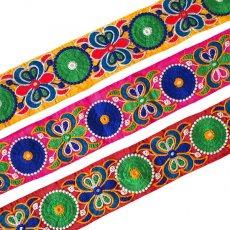 インド ミラーワークのチロリアンテープ  ピンク(幅7cm/1m単位売り)