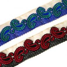 インド チロリアンテープ  ペイズリー 刺繍 2色(幅8cm/1m単位売り)