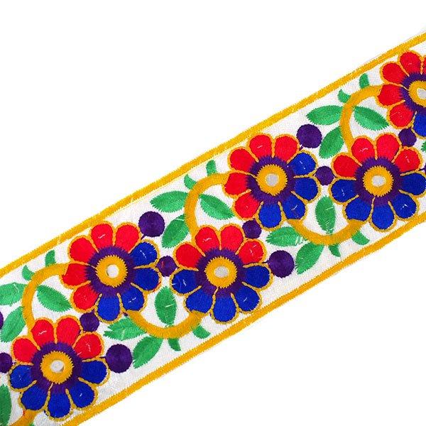 インド ミラーワーク チロリアンテープ ハンドメイド素材 (お花 幅7.5cm/1m単位売り)