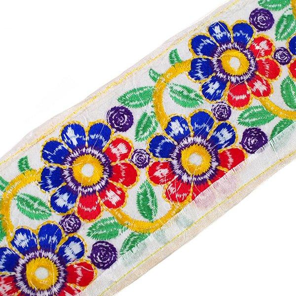 インド ミラーワーク チロリアンテープ ハンドメイド素材 (お花 幅7.5cm/1m単位売り)【画像2】