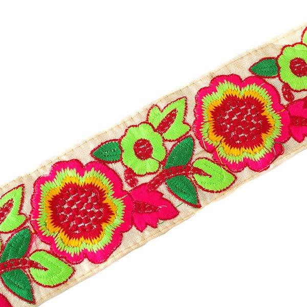 インド チロリアンテープ  カラフルなお花(幅8cm/1m単位売り)