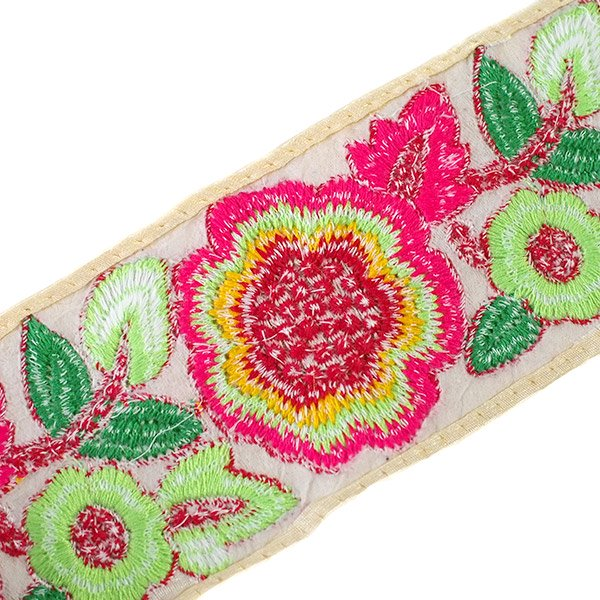 インド チロリアンテープ カラフル 花刺繍 (幅8cm/1m単位売り)【画像2】