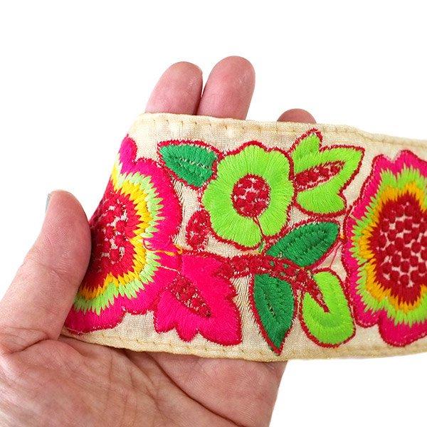 インド チロリアンテープ カラフル 花刺繍 (幅8cm/1m単位売り)【画像3】