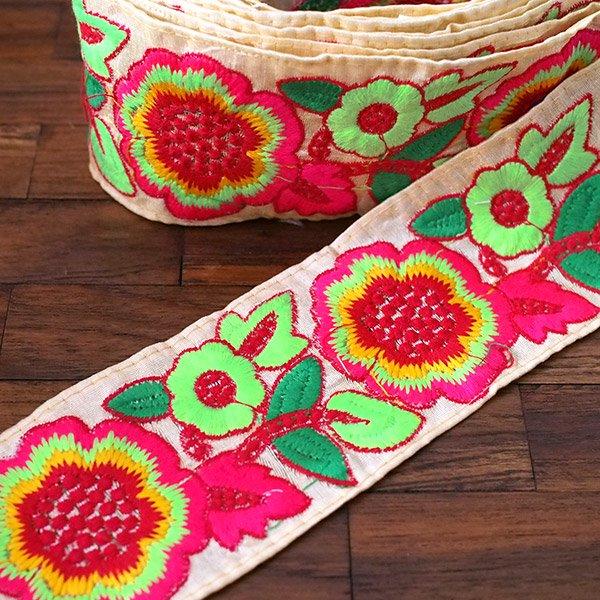 インド チロリアンテープ カラフル 花刺繍 (幅8cm/1m単位売り)【画像4】