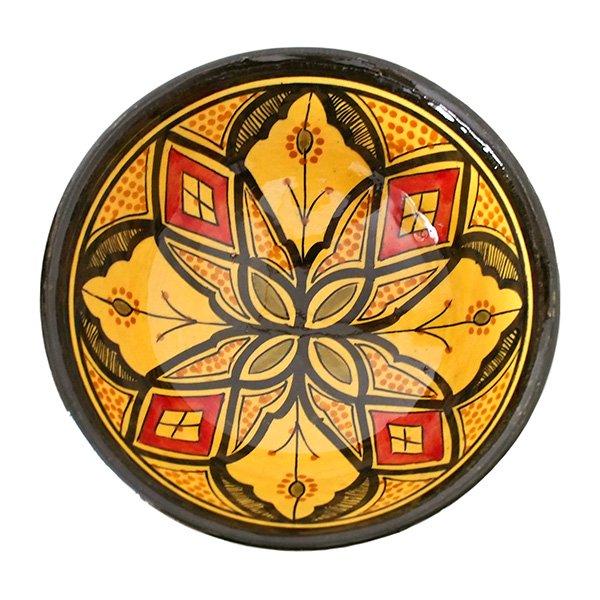 モロッコ サフィ陶器 ボウル(イエロー 18cm)【画像3】