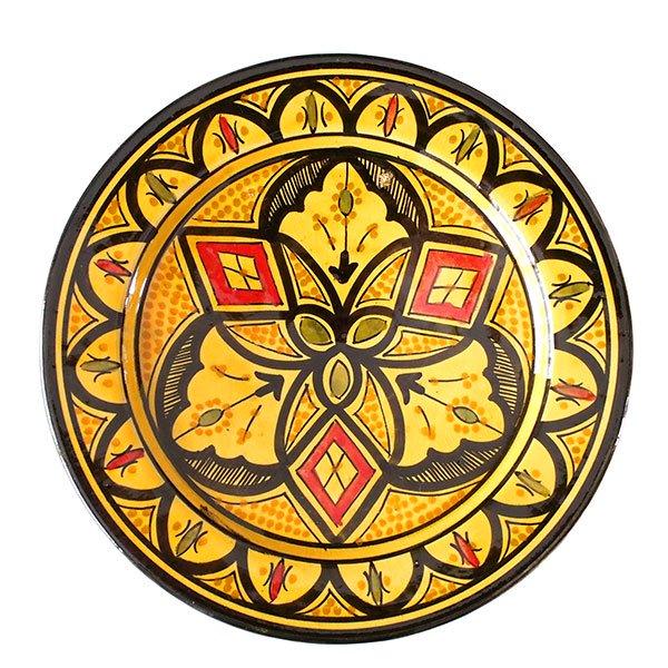 モロッコ サフィ陶器のお皿(イエロー 20cm)
