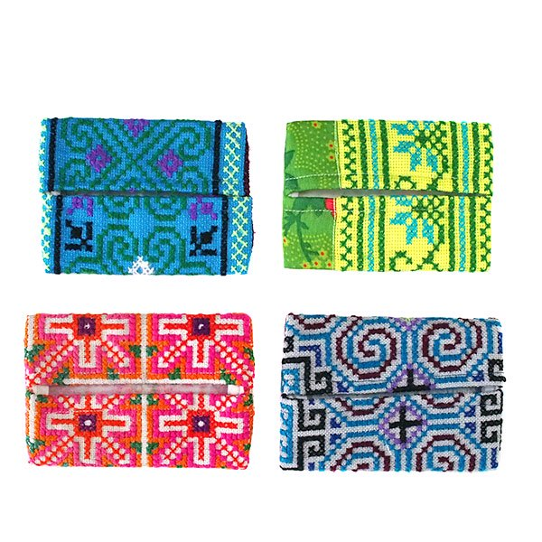 タイ モン族 刺繍 ポケットティッシュケース(4色)