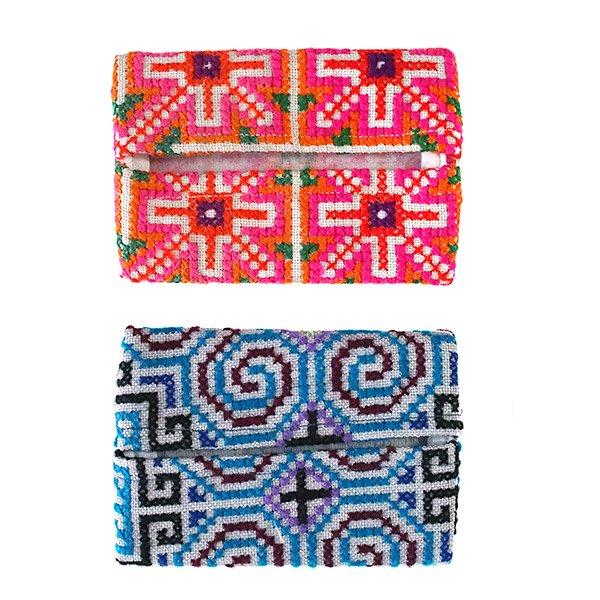 タイ モン族 刺繍 ポケットティッシュケース(4色)【画像4】