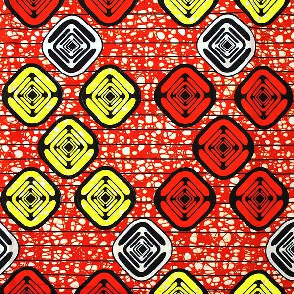 アフリカン プリント布 パーニュ 115×90 カットオフ(四角模様)