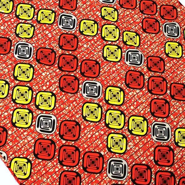 アフリカン プリント布 パーニュ 115×90 カットオフ(四角模様)【画像3】