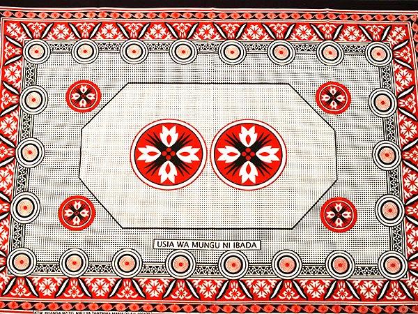 アフリカ タンザニア カンガ プリント布 110×160(教えに沿って生きれば間違いはない)【画像3】
