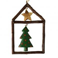 フィリピン  小枝のオーナメント(お家とクリスマスツリー)