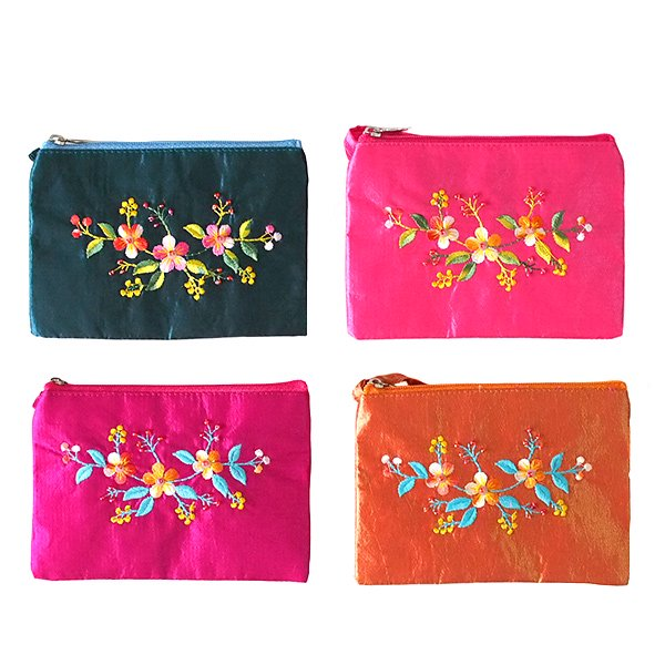 ベトナム 刺繍シルクミニポーチ(A)