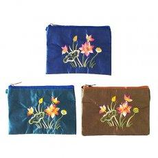 ポーチ ベトナム 蓮の花(ロータス) 刺繍 ポーチ