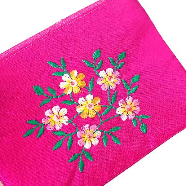 ベトナム 刺繍シルクミニポーチ