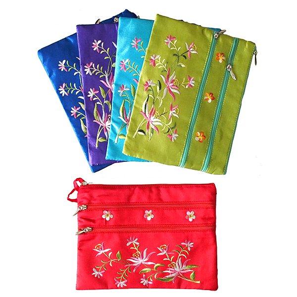 ベトナム 刺繍 シルクポーチ(蓮5色)