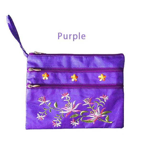 ベトナム 蓮の花(ロータス) 刺繍ポーチ(5色)【画像3】