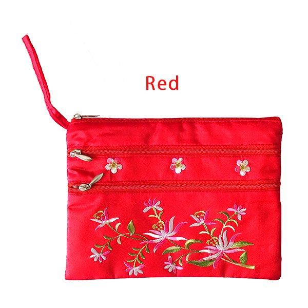 ベトナム 刺繍 シルクポーチ(蓮5色)【画像6】