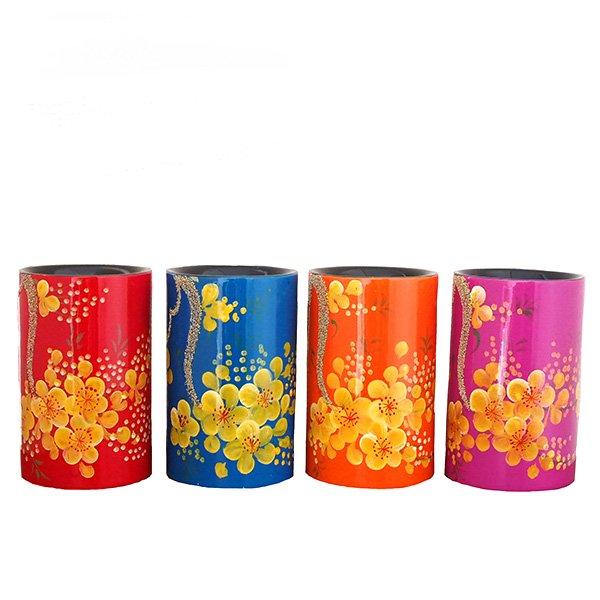 ベトナム 花柄 漆 ペン立て