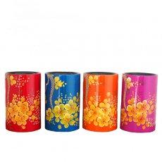 ベトナム 漆(うるし)ペン立て 花柄
