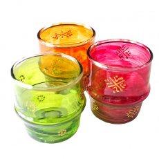モロッコ 手描き キャンドルポット(リサイクルグラス)