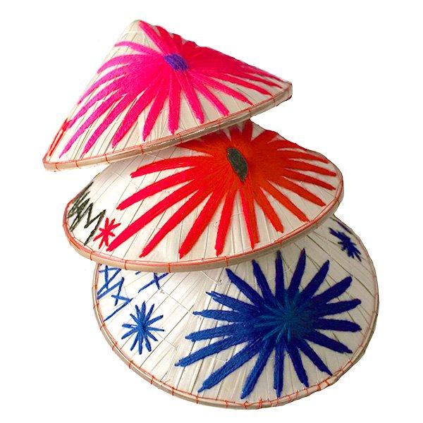 ベトナム カラフル刺繍のノンラー(三角笠・ミニ)