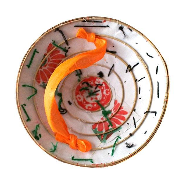 ベトナム カラフル刺繍のミニノンラー(三角笠)【画像6】