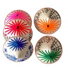 ベトナム カラフル刺繍のミニノンラー(三角笠)