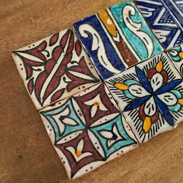 モロッコ テラコッタ(素焼き)手描きのタイル(A)【画像5】