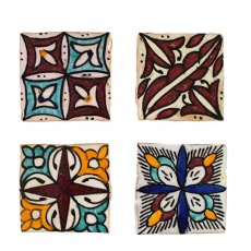 茶・ブラウン 雑貨 モロッコ テラコッタ(素焼き)手描きのタイル(A)