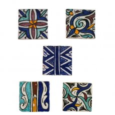 モロッコ テラコッタ(素焼き)手描きのタイル(B)