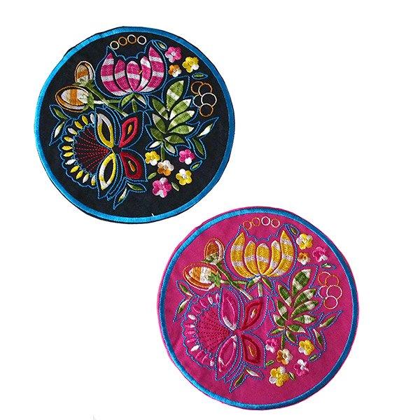 ベトナム 蓮 蝶々 刺繍コースター