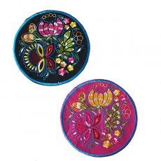ベトナム 刺繍コースター(蓮の花と蝶々)