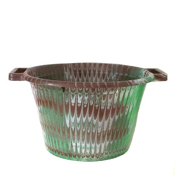 セネガル プラスチック持ち手付きの桶(ブラウンA  12リットル)