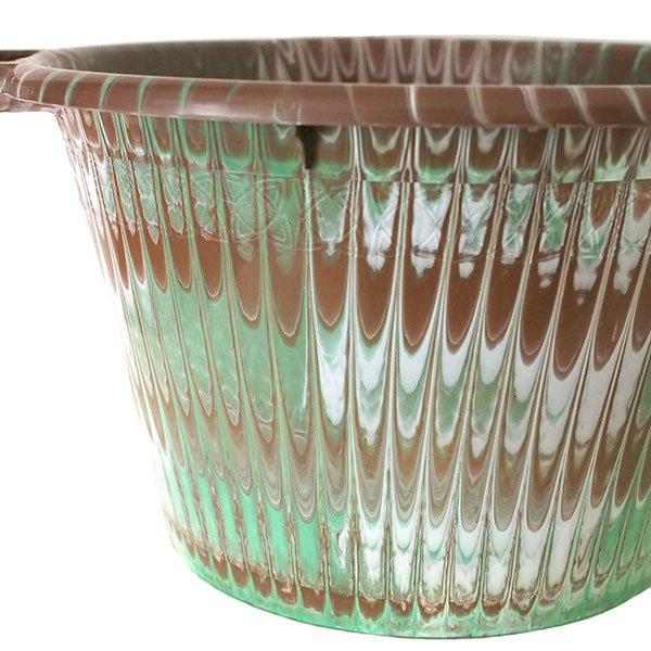 セネガル プラスチック持ち手付きの桶(ブラウンA  12リットル)【画像2】