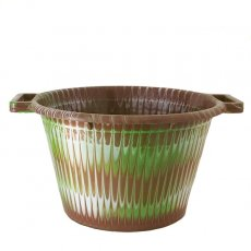 茶・ブラウン 雑貨 セネガル プラスチック持ち手付きの桶(ブラウンB 12リットル)