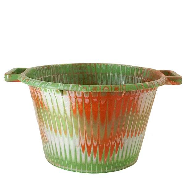 セネガル プラスチック持ち手付きの桶(キミドリ 12リットル)