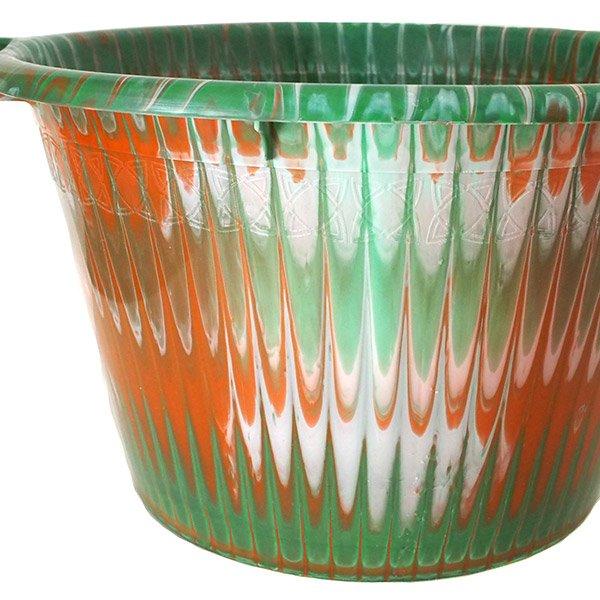 セネガル プラスチック持ち手付きの桶(グリーン 12リットル)【画像2】