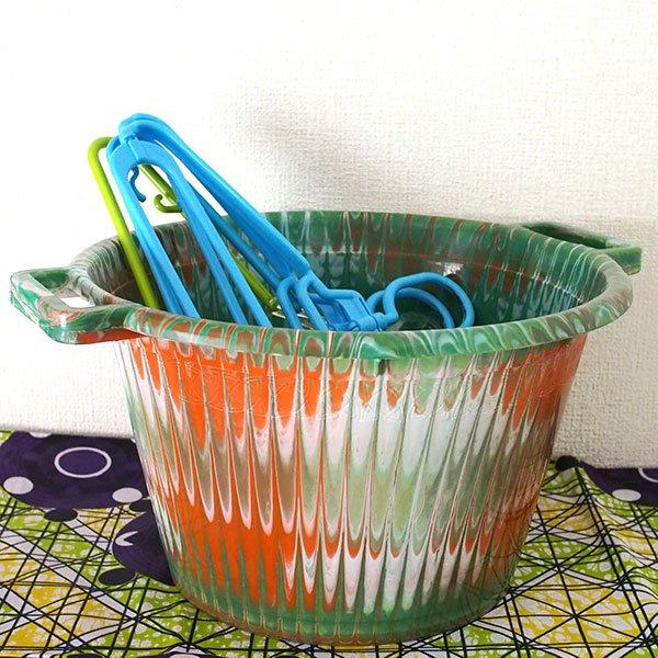 セネガル プラスチック持ち手付きの桶(グリーン 12リットル)【画像5】