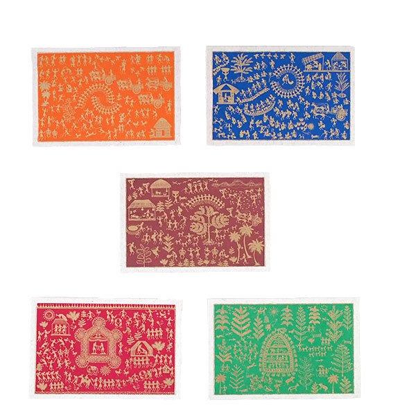 インド chimanlals(チマンラール)ワルリー画 メッセージカード 5色(封筒付き)