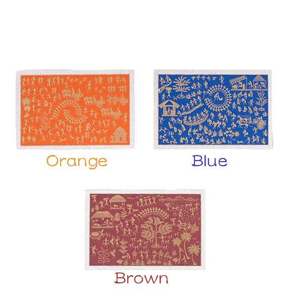 インド chimanlals(チマンラール)ワルリー画 メッセージカード 5色(封筒付き)【画像2】