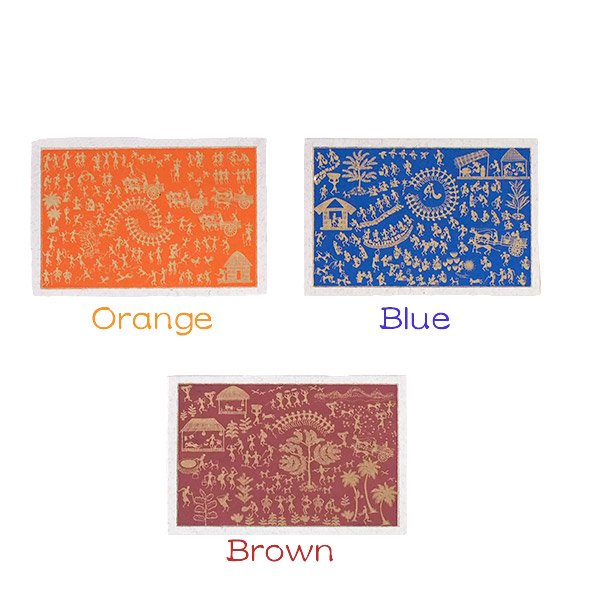 インド chimanlals(チマンラール)メッセージカード WARLI 5色(封筒付き)【画像2】