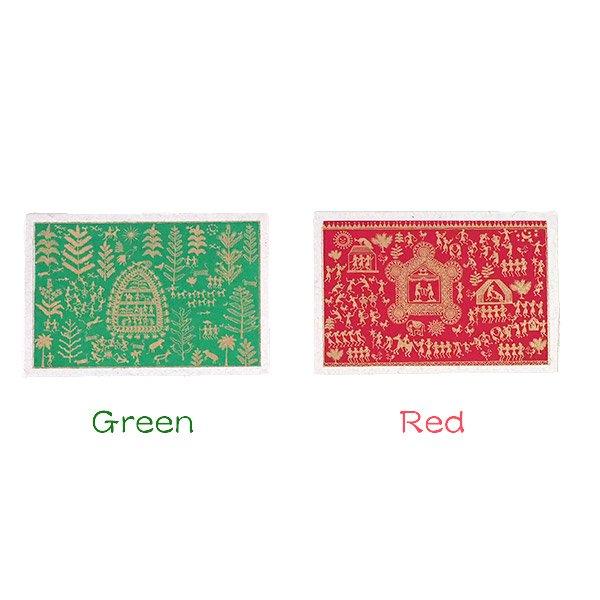 インド chimanlals(チマンラール)ワルリー画 メッセージカード 5色(封筒付き)【画像3】