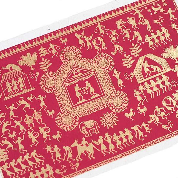 インド chimanlals(チマンラール)ワルリー画 メッセージカード 5色(封筒付き)【画像4】