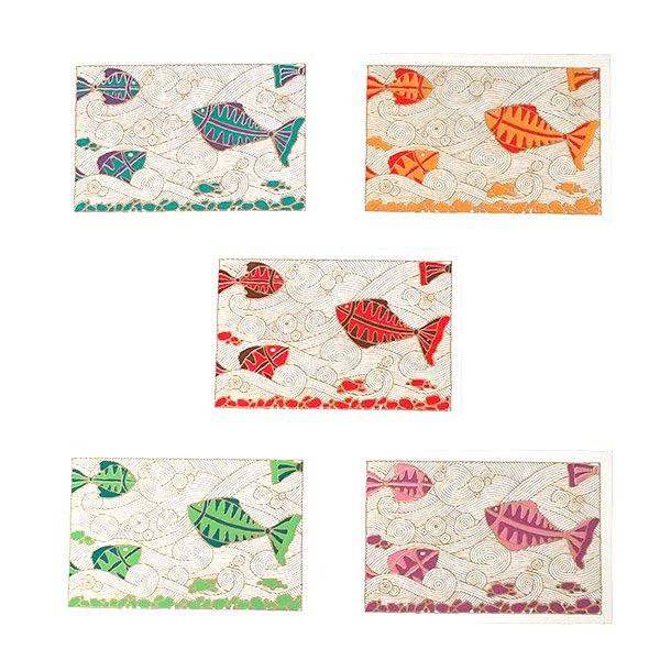インド chimanlals(チマンラール)カラフルな魚 メッセージカード(封筒付き)